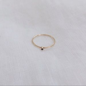 Jennifer Meyer 18k Gold Thin Ring with Sapphire